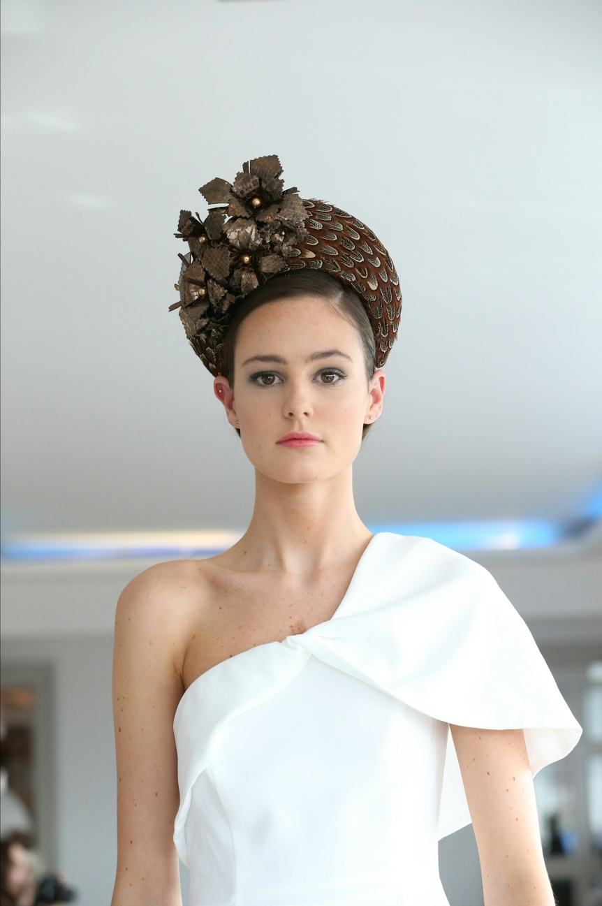 CIFD show Eabha pheasant feather leather flower crown