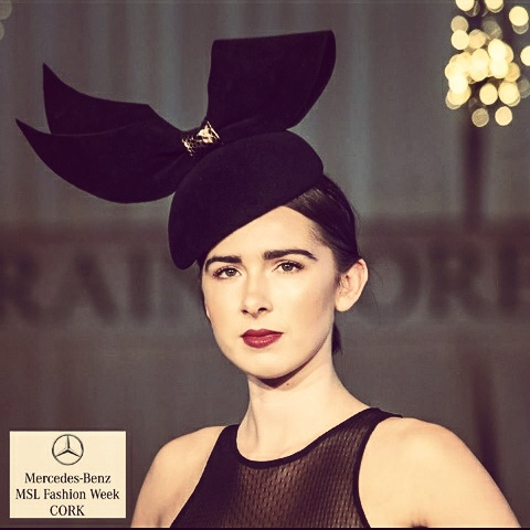 black velour felt side beret drape bow