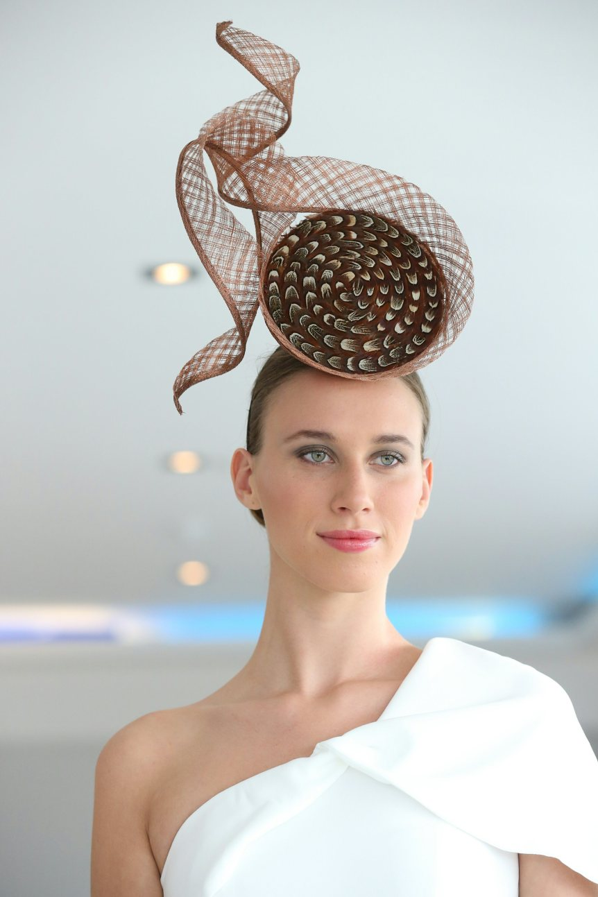 CIFD show Eliska pheasant feather 3D percher with windowpane swirl