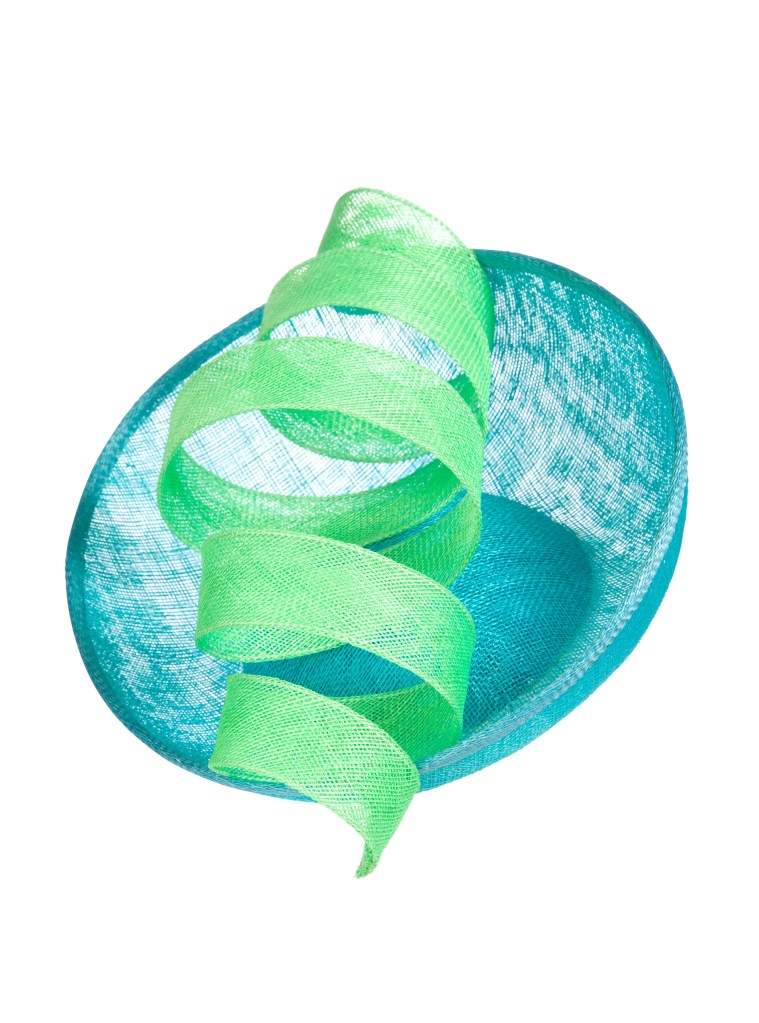 Aoife Kirwan - Blue and Green Sinamay Swirl Headpiece